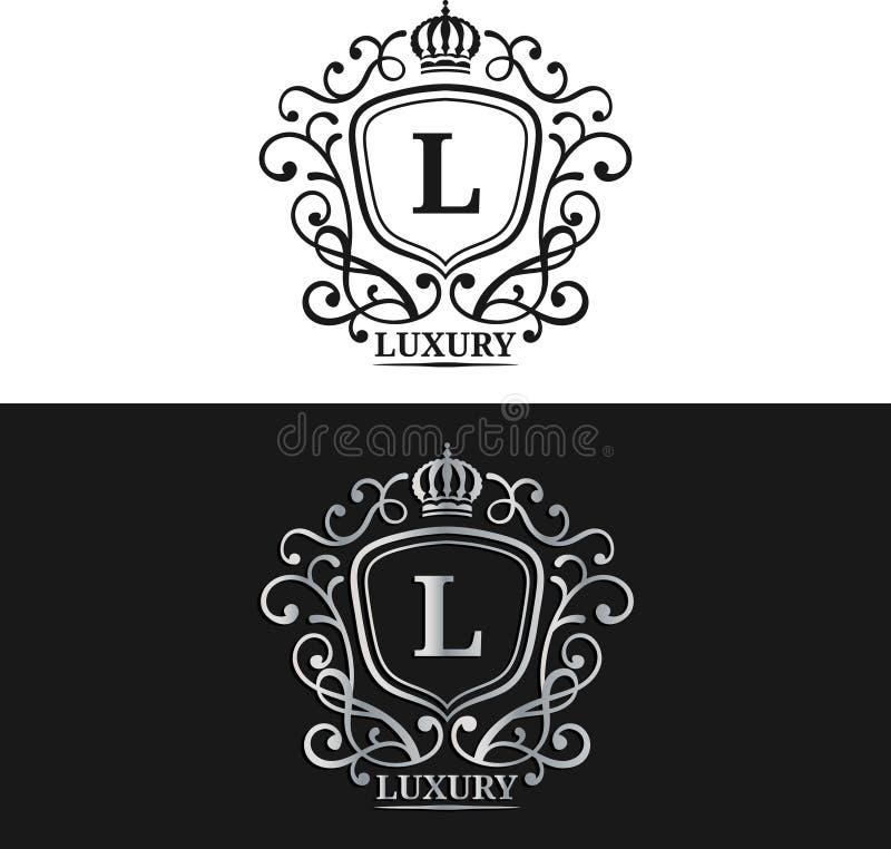 Mall för vektormonogramlogo Lyxig bokstavsdesign Behagfullt tappningtecken med kronaillustrationen royaltyfri illustrationer