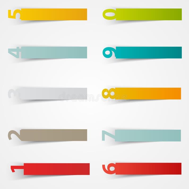 Mall för vektornummerklistermärkear Färga pappers- vektor illustrationer