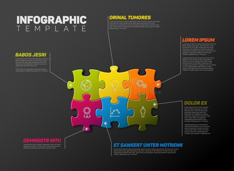 Mall för vektorpusselInfographic rapport vektor illustrationer