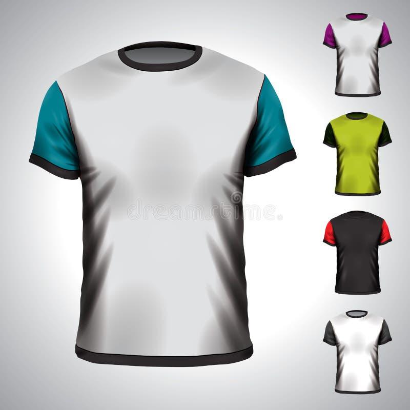 Mall för vektorT-tröjadesign i olika färger. vektor illustrationer