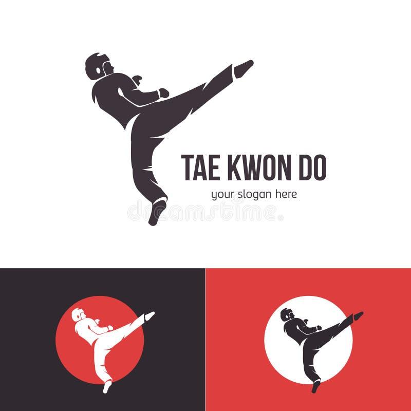 Mall för vektorTaekwondo logo Kampsportemblem Emblem för sporthändelser, konkurrenser, turneringar Silhouette av a vektor illustrationer