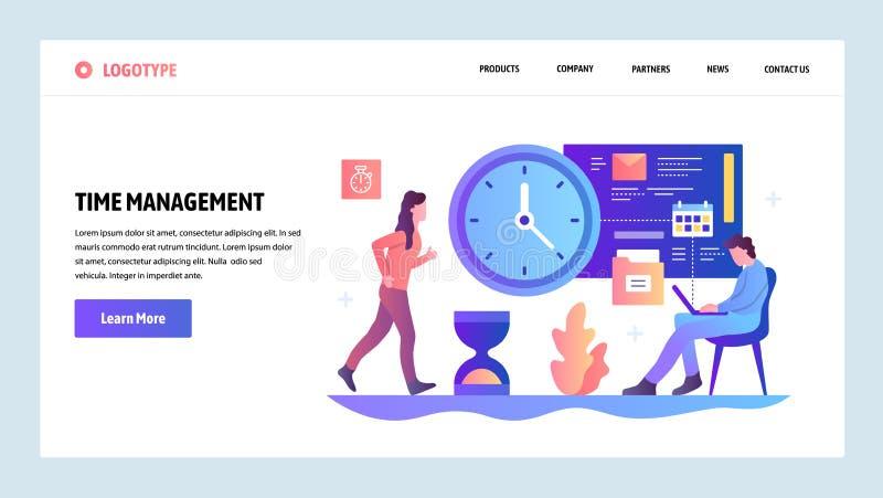 Mall för vektorwebbplatsdesign Begrepp för Tid ledning Affärsprojektstopptid och schema Landa sidabegrepp vektor illustrationer