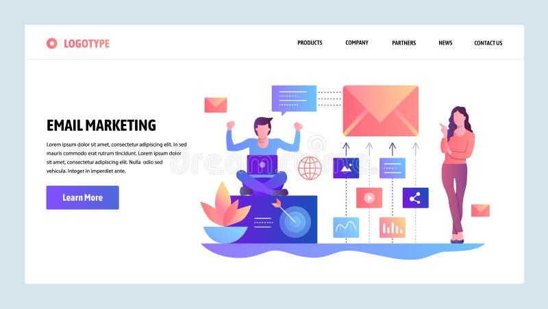 Mall för vektorwebbplatsdesign Digital och emailmarknadsföring Landa sidabegrepp för website- och mobilutveckling royaltyfri illustrationer