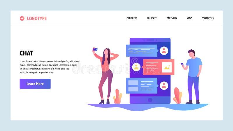 Mall för vektorwebbplatsdesign Online-app för internetpratstund- och mobiltelefonbudbärare Folket talar på en telefon vid sms royaltyfri illustrationer