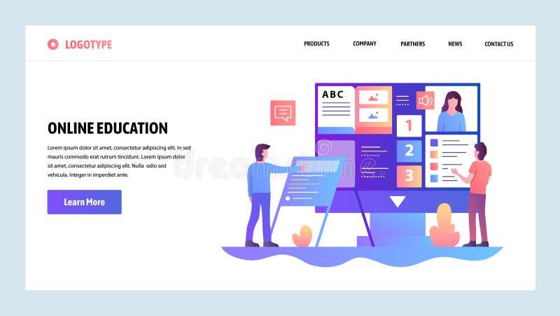 Mall för vektorwebbplatsdesign Online-utbildning och e-lära kurs Landa sidabegrepp för website och mobil royaltyfri illustrationer
