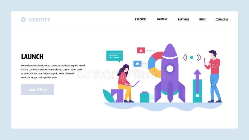 Mall för vektorwebbplatsdesign Rocket Launch Byggande ny idé Landa sidabegrepp för website och mobil royaltyfri illustrationer