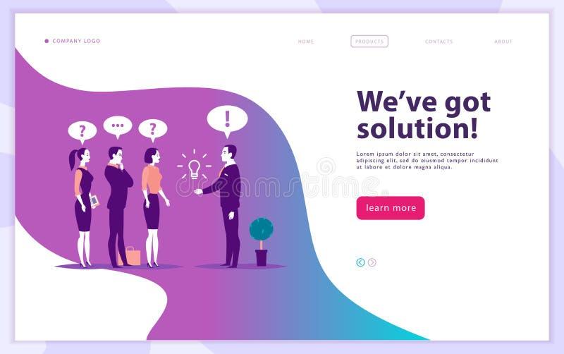 Mall för vektorwebbsidadesign - den komplexa affärslösningen, projektservice, konsulterar direktanslutet, modern teknologi, servi vektor illustrationer