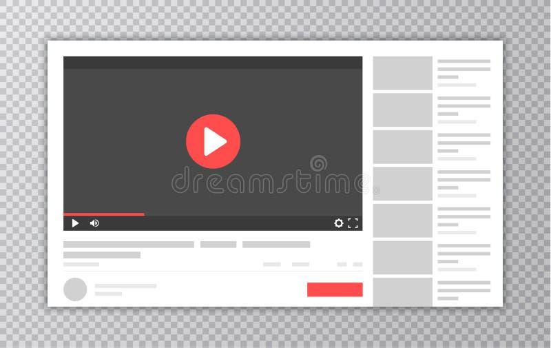 Mall för video- och massmediaspelaremanöverenhet Webbläsarefönster med videospelaren Webbplatsåtlöje upp Användarekommentarer vek stock illustrationer