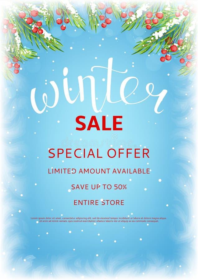 Mall för vinterförsäljningsreklamblad stock illustrationer