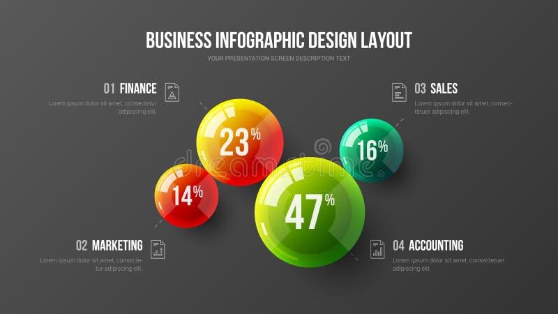 Mall för visualization för företags information om marknadsföringsstatistik grafisk royaltyfri illustrationer