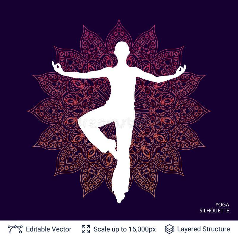 Mall för yogabakgrundsvektor stock illustrationer
