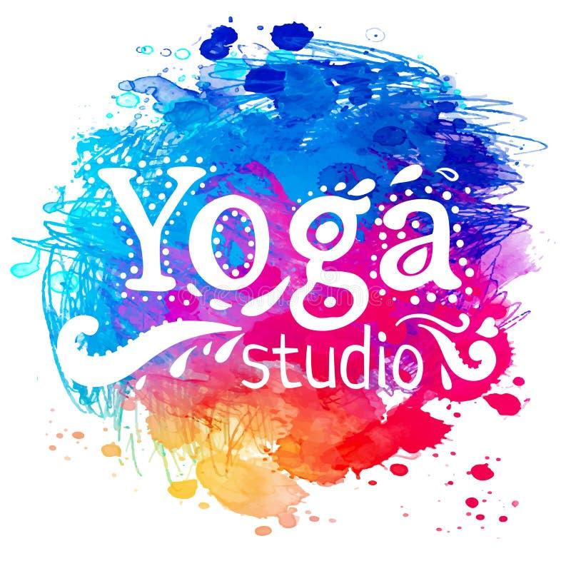 Mall för yogastudiodesign över färgrik vattenfärgbakgrund vektor illustrationer