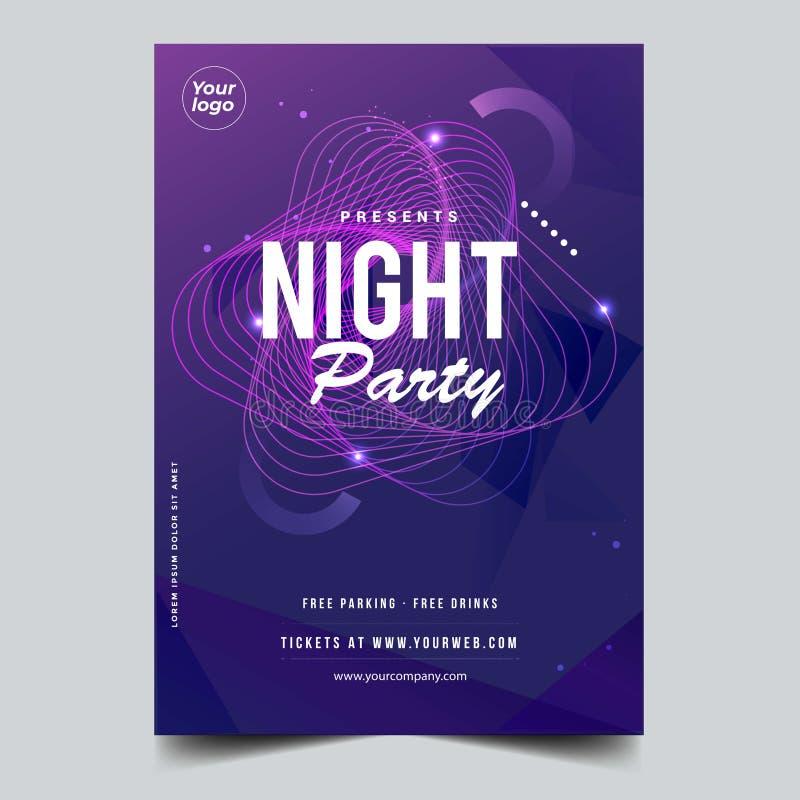 Mall f?r affisch f?r natt f?r musik f?r nattdansparti Inbjudan för partihändelsereklamblad stock illustrationer
