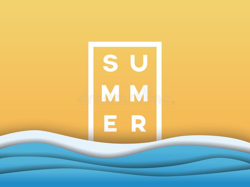 Mall f?r bakgrund f?r affisch f?r sommarstrandvektor i materiell designstil f?r modernt pappers- lager Symbol av sommarferie royaltyfri illustrationer