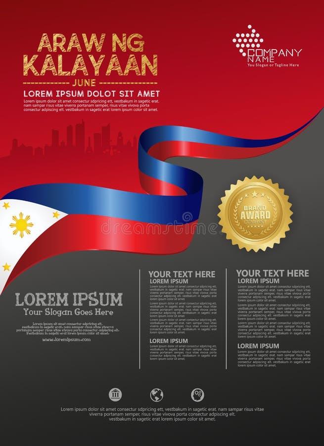 Mall f?r bakgrund f?r nationell dag f?r Filippinerna lycklig f?r en affischbroschyr och broschyr stock illustrationer