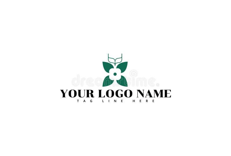 Mall f?r blommalogodesign royaltyfri illustrationer