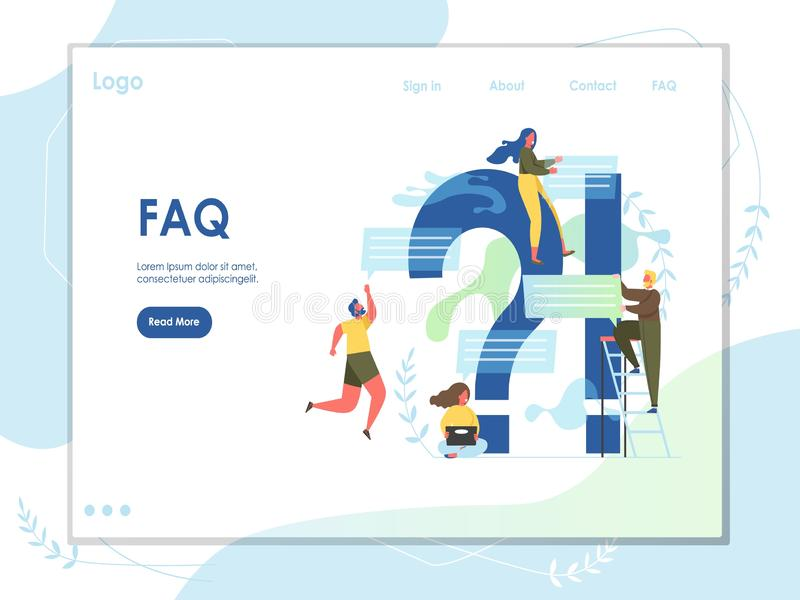 Mall f?r design f?r sida f?r landning f?r FAQ-vektorwebsite royaltyfri illustrationer