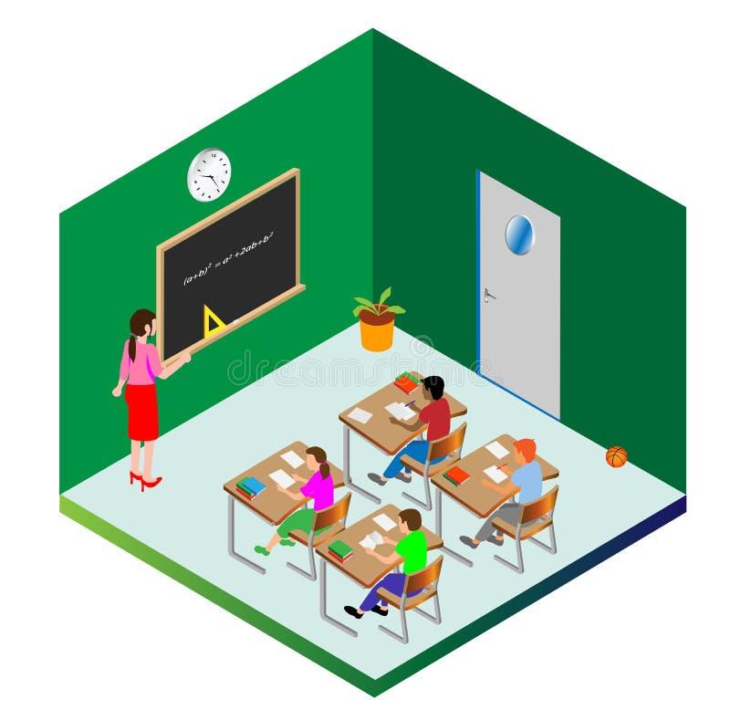 Mall f?r design Skolbarn och en lärare är upptagna att lära f?rger kunde den olika vektorn f?r bruk f?r objekt f?r emblemsdatalis royaltyfri illustrationer