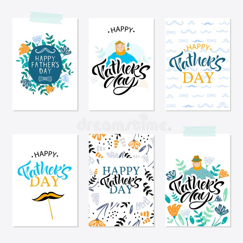 Mall f?r h?lsningkort f?r lycklig faderdag med typografidesign stock illustrationer