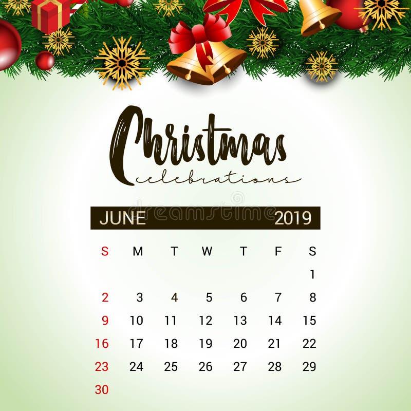 2019 mall f?r Juni kalenderdesign av garnering f?r jul eller f?r nytt ?r stock illustrationer