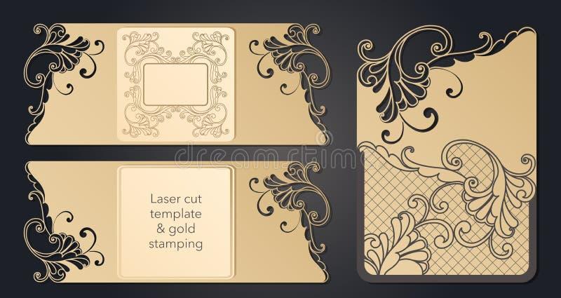 Mall f?r laser-klipp Openwork orientering av det festliga kuvertet, en vykort f?r din text, en etikett, en anm?rkning i stock illustrationer