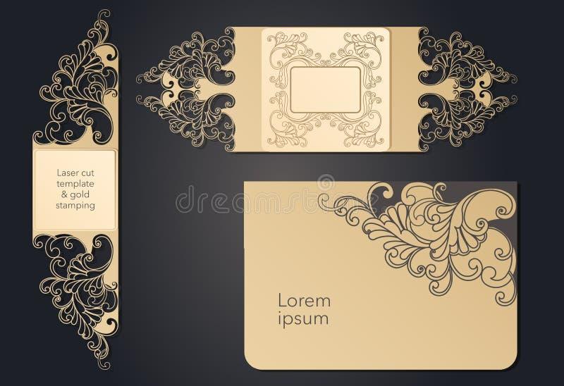 Mall f?r laser-klipp Openwork orientering av det festliga kuvertet, en vykort f?r din text, en etikett, en anm?rkning i vektor illustrationer