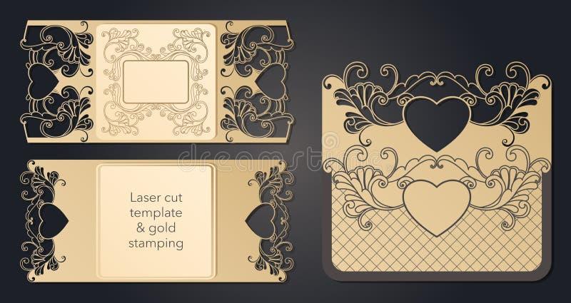 Mall f?r laser-klipp Openwork orientering av det festliga kuvertet, en vykort f?r din text, en etikett, en anm?rkning i royaltyfri illustrationer