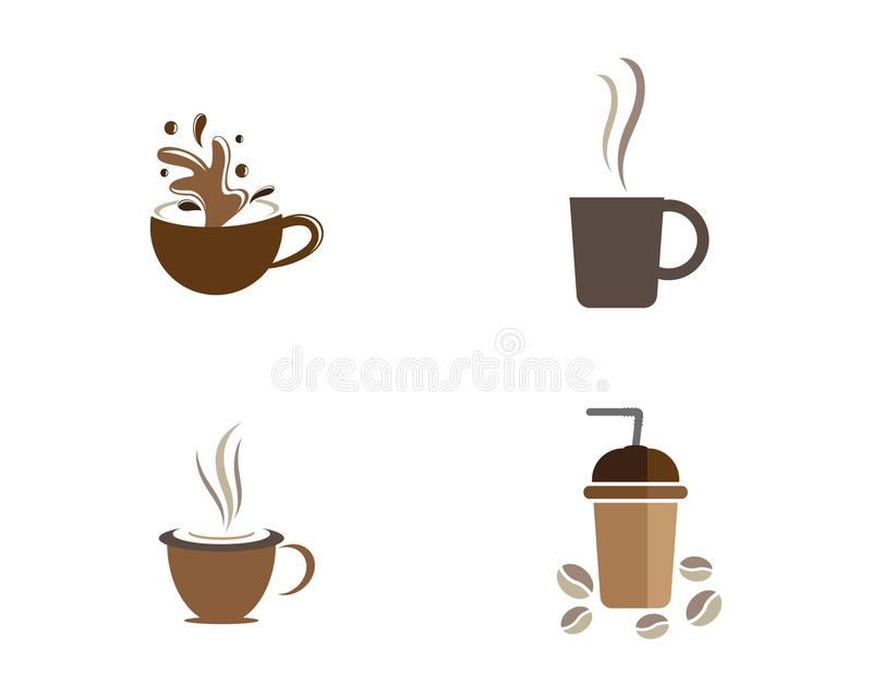 Mall f?r logo f?r kaffekopp royaltyfri illustrationer