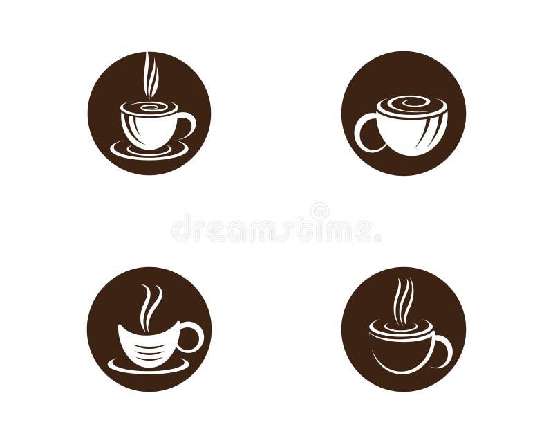 Mall f?r logo f?r kaffekopp royaltyfri illustrationer