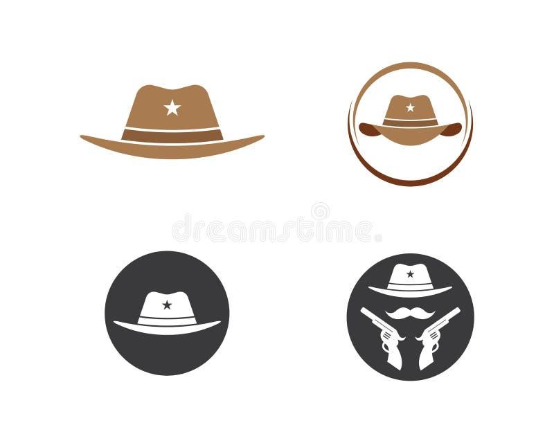 mall f?r vektor f?r logo f?r symbol f?r cowboyhatt vektor illustrationer