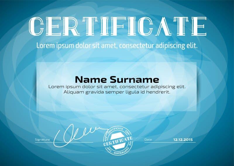 Mall i certifikat, valuta och diplom stock illustrationer