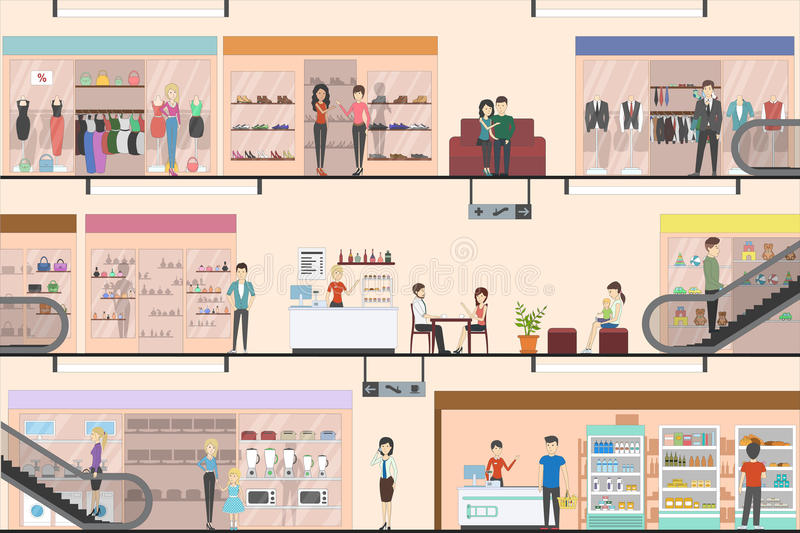 Mall interior set. Mall indoors interior set. Floors in supermarket. People shopping and entertaining royalty free illustration