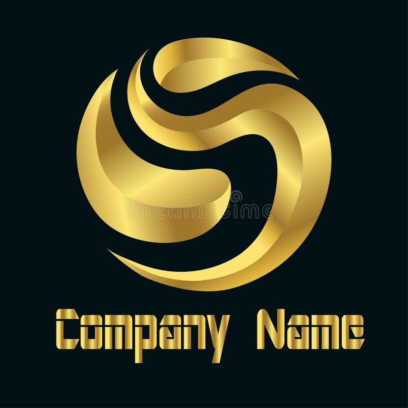 Mall Logo Letter S och guld- färg för cirkelobjekt stock illustrationer
