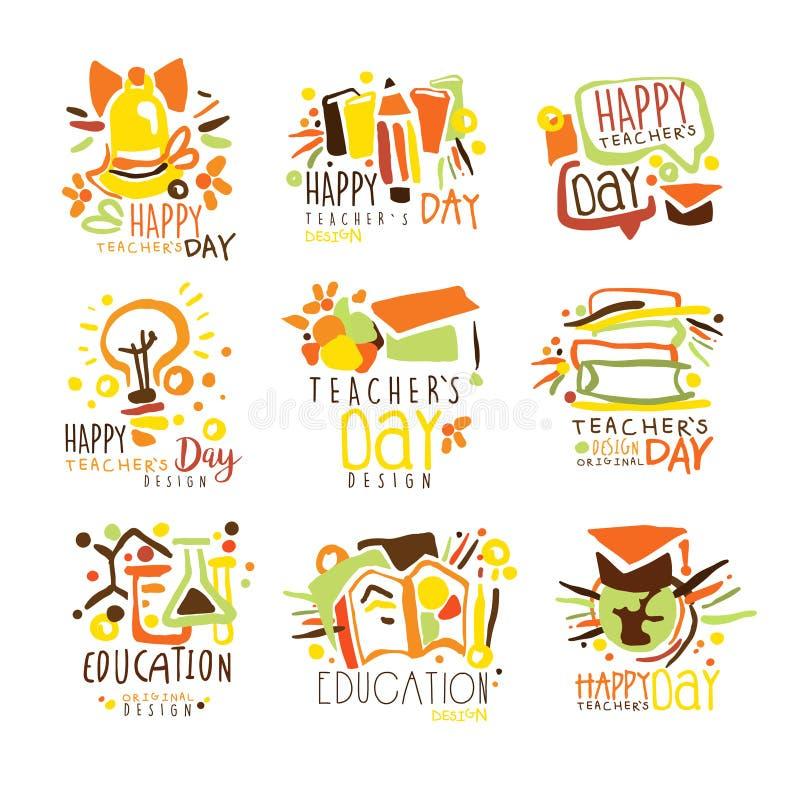 Mall Logo Series, hand för grafisk design för lycklig läraredag färgrik drog vektorstenciler royaltyfri illustrationer