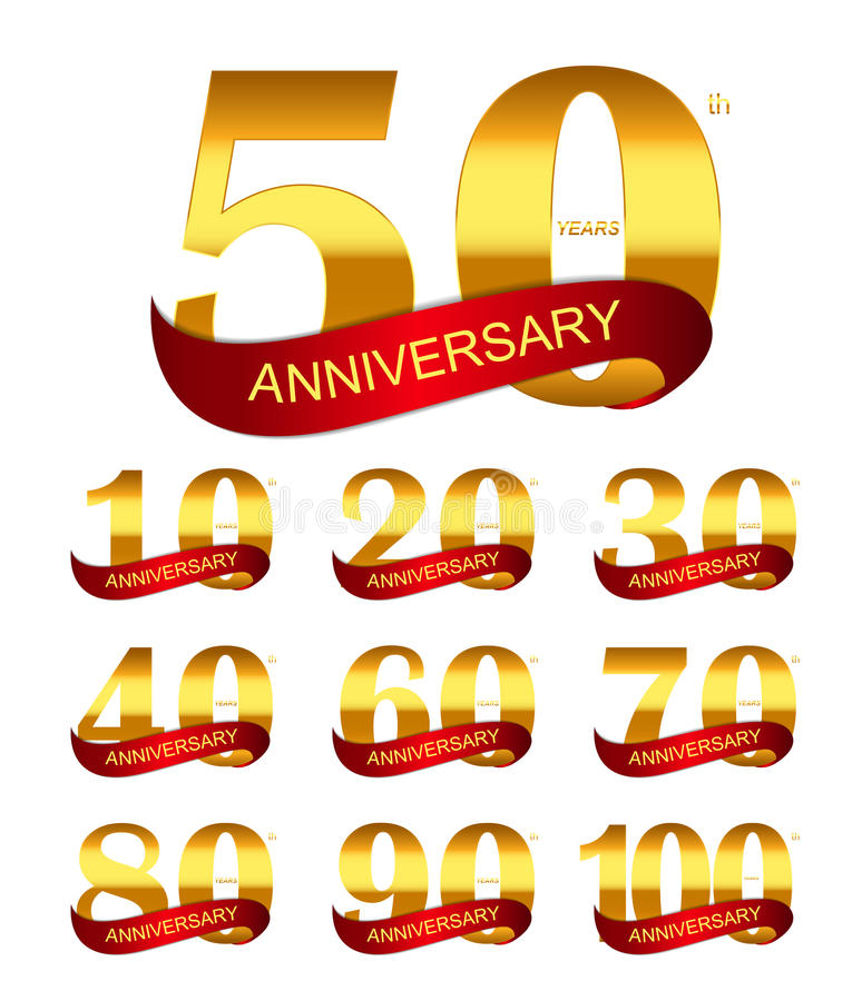 Mall Logo Set Anniversary Vector Illustration royaltyfri illustrationer