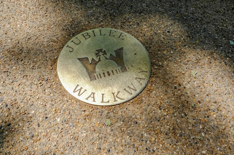 Brass plaque on the Mall of the Queens Jubilee. royalty free stock photos