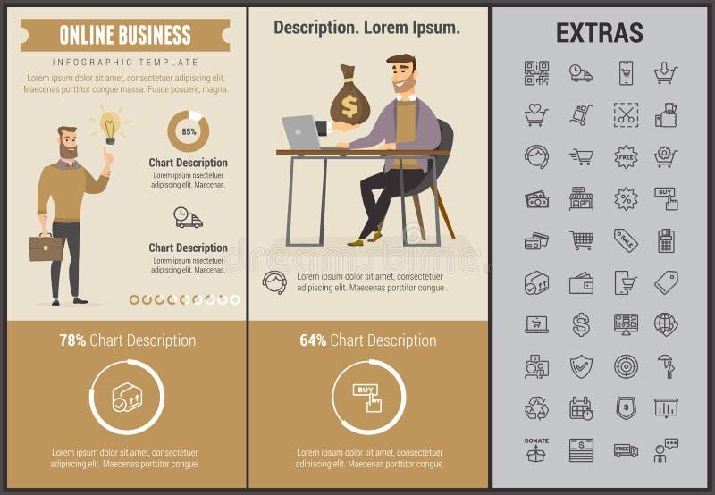 Mall och beståndsdelar för online-affär infographic royaltyfri illustrationer