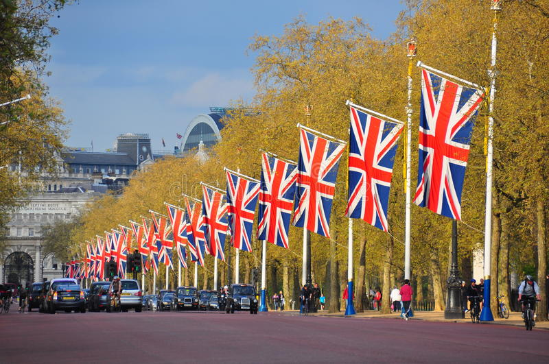 The Mall road, London. The flag covered Mall Road running from Buckingham Palace to Admiralty Arch in London, England