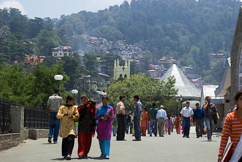 Mall in Shimla, Indien stockfotos