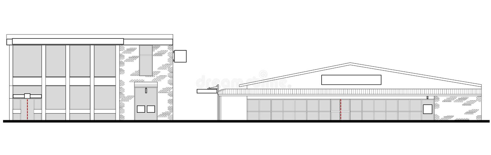 Mall shopping center building. Line drawing illustration of a strip mall or shopping center building viewed from front elevation on white background