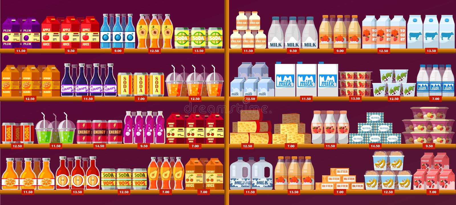 Juice drinks and dairy at shop shelves or showcase royalty free illustration