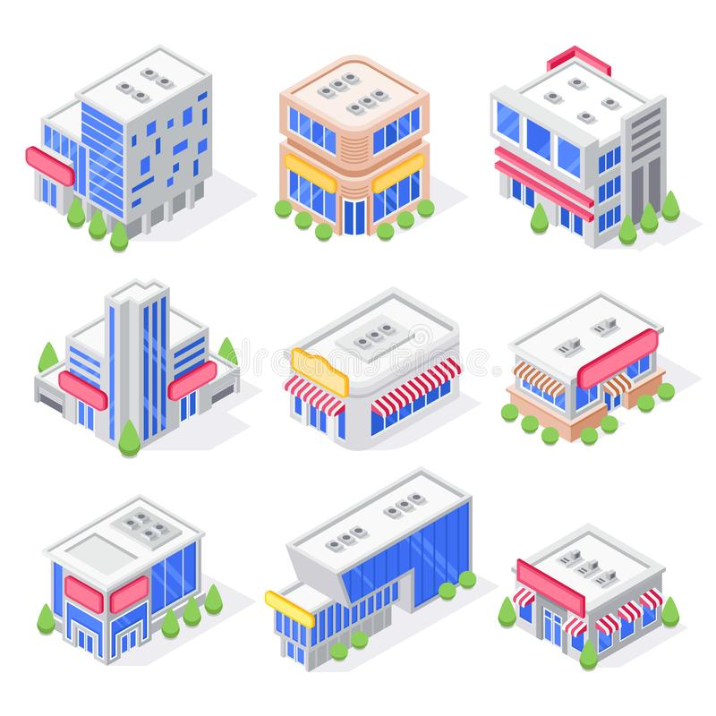 Mall store isometric buildings. Shop exterior, super market building and modern city stores architecture isolated 3d stock illustration