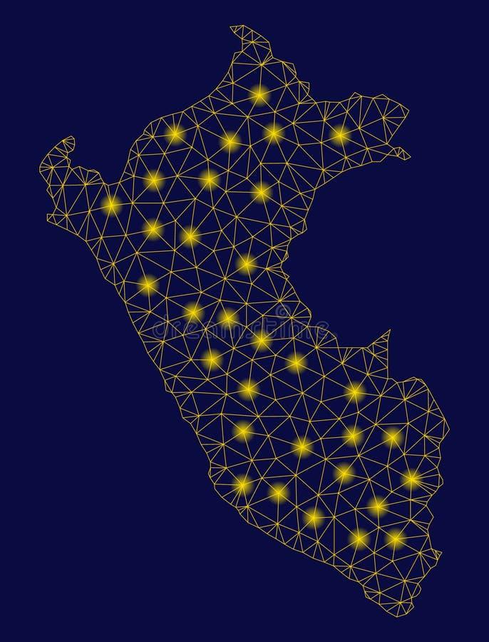 Malla amarilla 2.o Peru Map con los puntos ligeros libre illustration