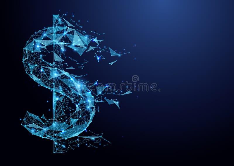 Malla americana del wireframe del icono del dólar del polígono bajo abstracto en fondo azul stock de ilustración