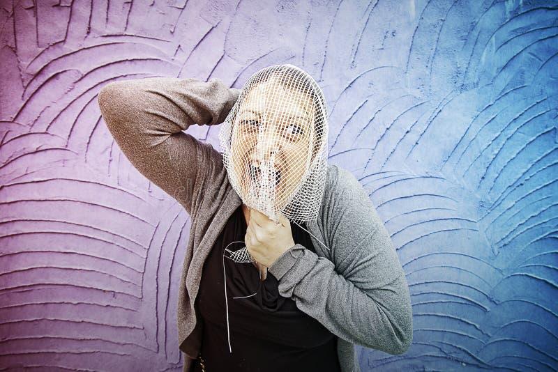 Malla atrapada mujer foto de archivo