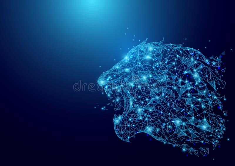 Malla baja del wireframe de la cabeza del león del polígono en fondo azul ilustración del vector
