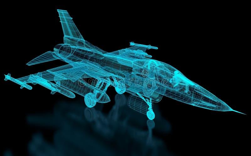Malla de los aviones de la caza a reacción stock de ilustración