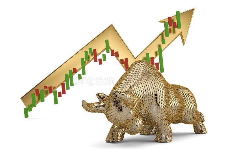 Malla del hexágono del oro y toro del acero en el fondo blanco illustra 3D stock de ilustración