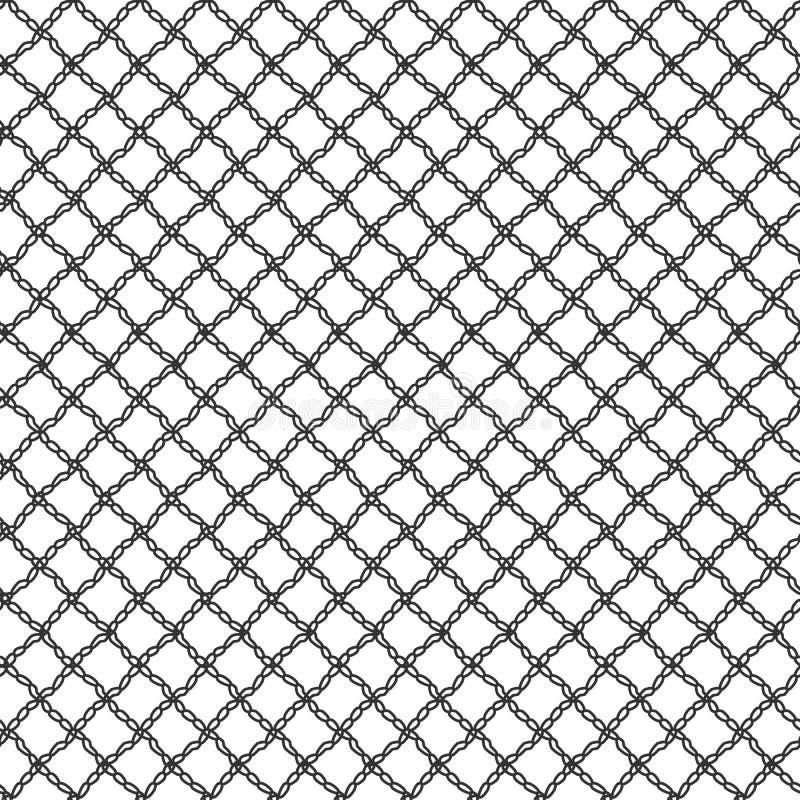 Malla inconsútil simple del cordón de los lazos Modelo de repetición negro stock de ilustración