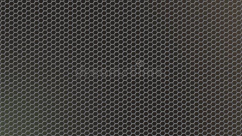 Malla metálica hexagonal brillante del extracto en fondo oscuro foto de archivo
